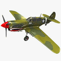 curtiss p-40 warhawk fighter 3d max