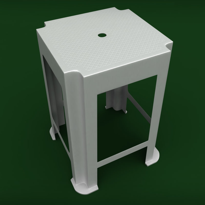 garden plastic stool 3d model