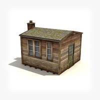 3d low-poly small wooden building