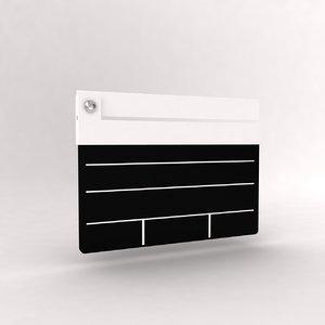 3d model clapper board