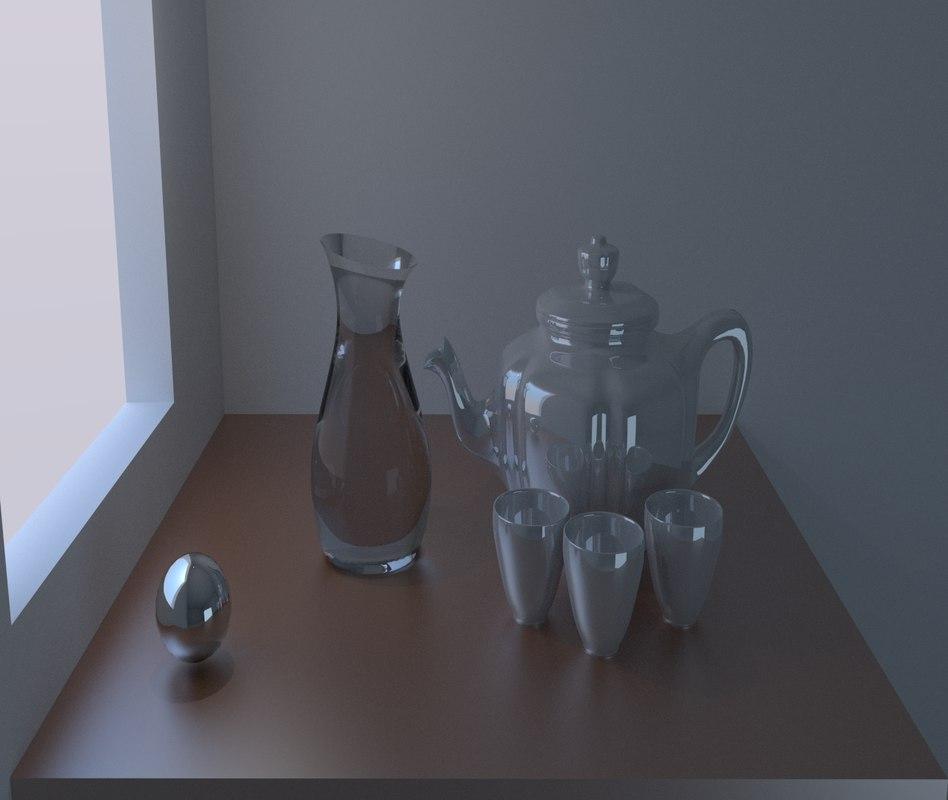 free teapot mugs table 3d model