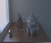 free teapot mugs table 3d model