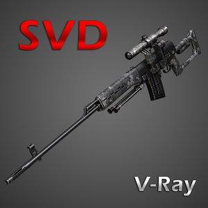 dragunov sniper rifle 3d model