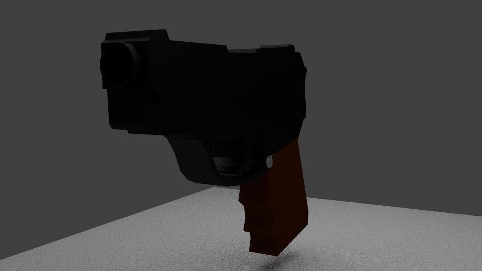cartoon pistol 3d model