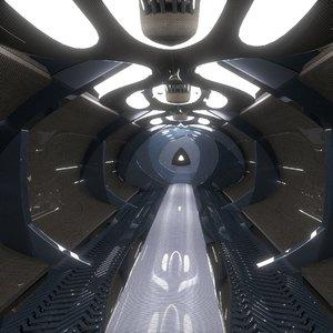space ship corridor 3d 3ds