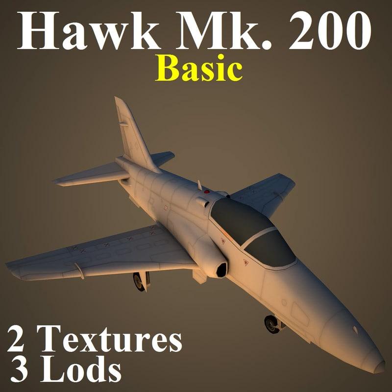 hawk 200 basic aircraft 3d model