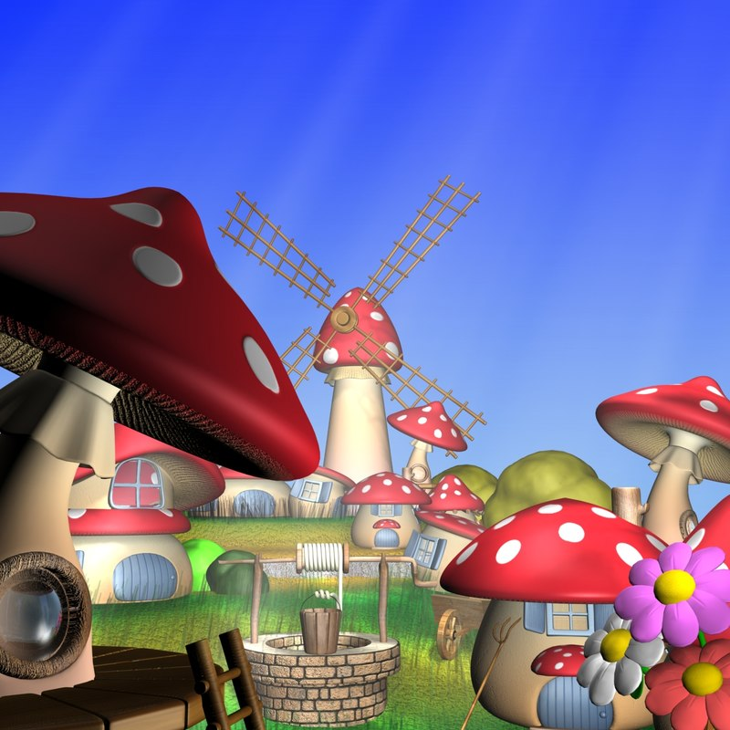 cartoon mushroom village 3d max