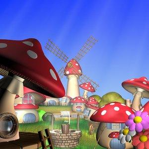 cartoon mushroom village 3d max