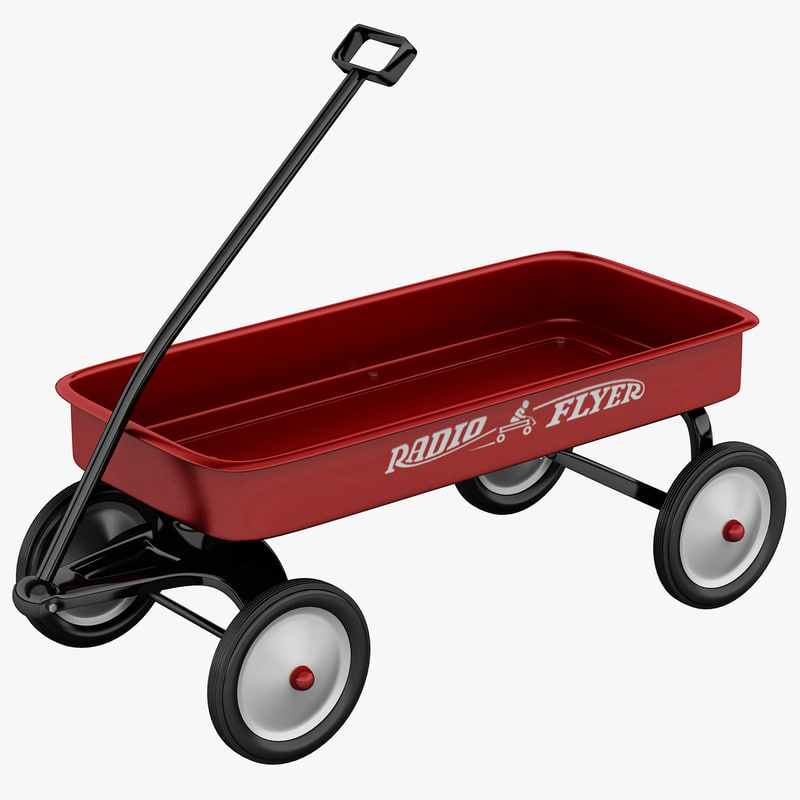 3d model of red wagon