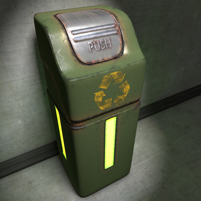 trash rubbish bin 3d model