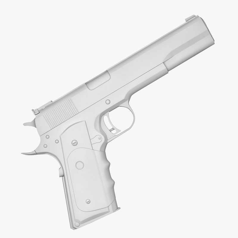 45 pistol amt hardballer 3d model