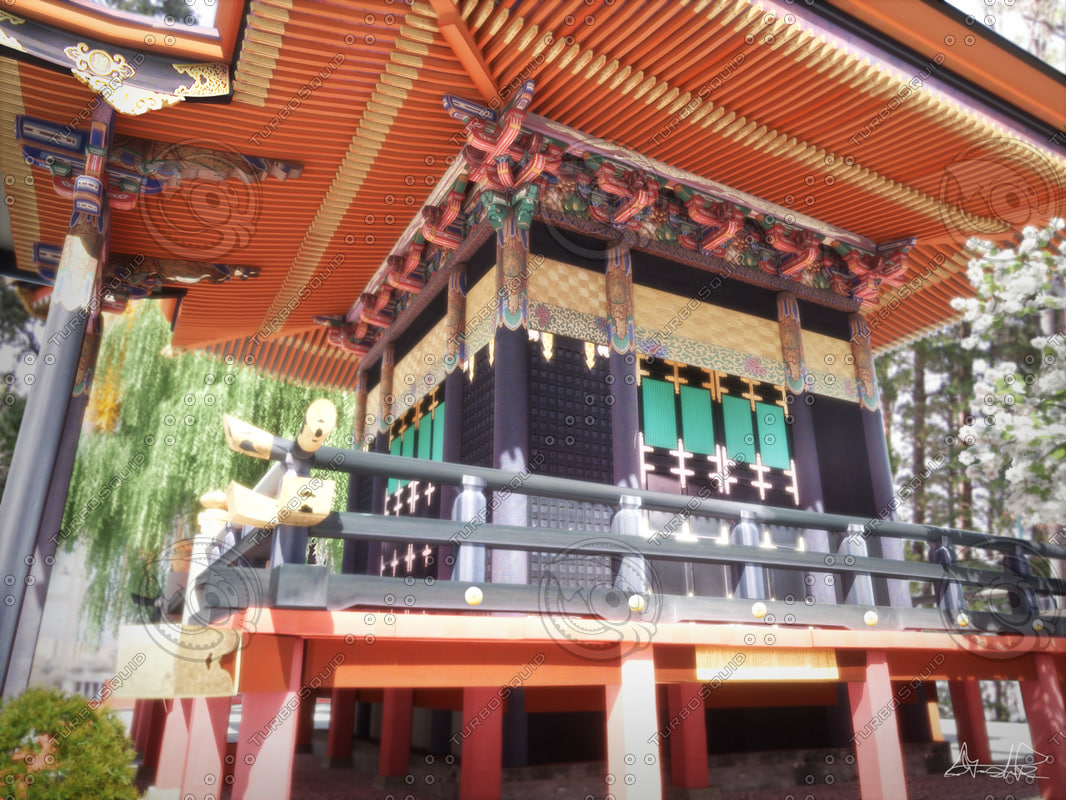 3d japanese temple house model