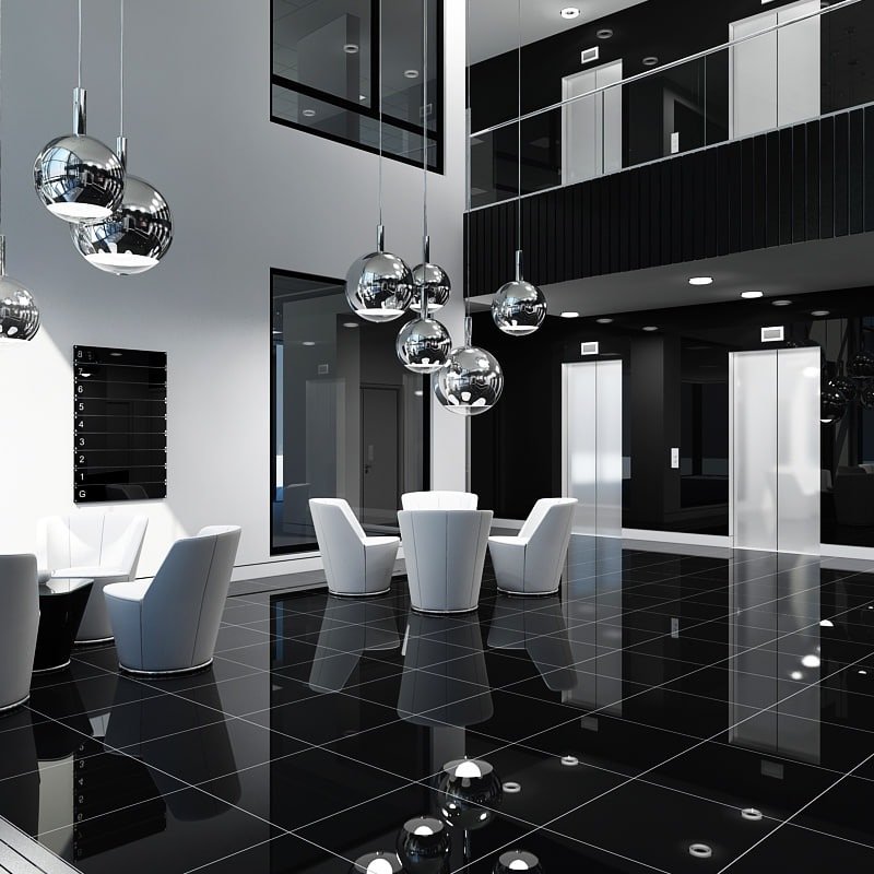 3d office interior reception model