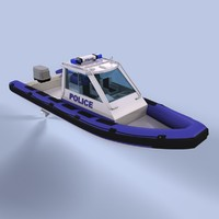 3d model rigid inflatable boat police