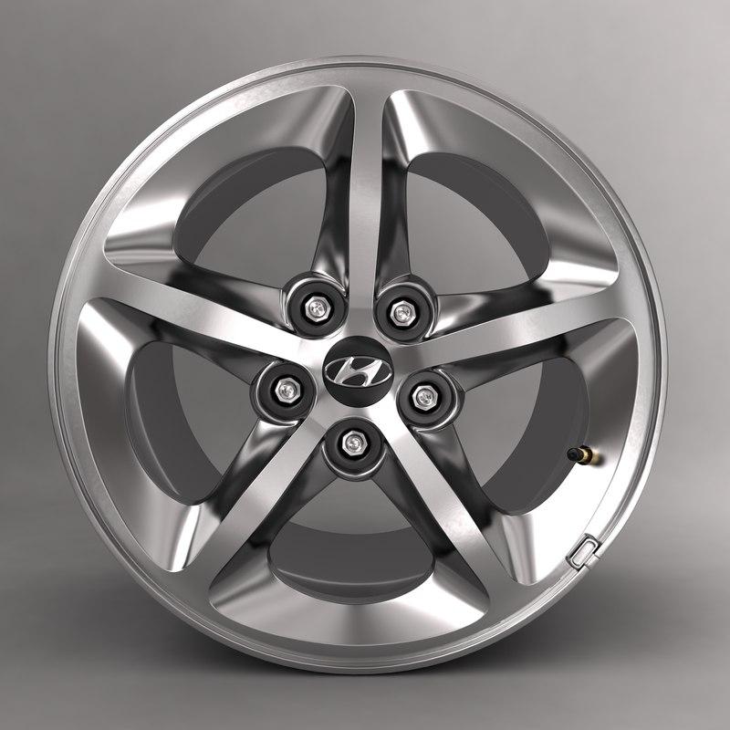 3d model of hyundai car alloy logo
