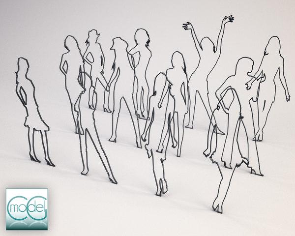 c4d silhouette people