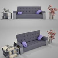sofa modern 004 3d 3ds