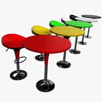 3d bar chair stool table