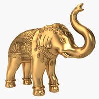3d brass elephant statue