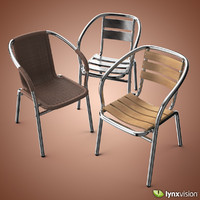aluminum chairs outdoor 3d model