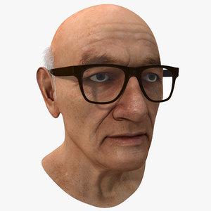 elderly man head version 3d max