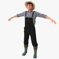3d farmer version 2 rigged