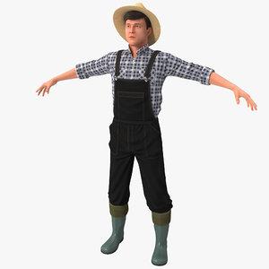3d farmer version 2 rigged