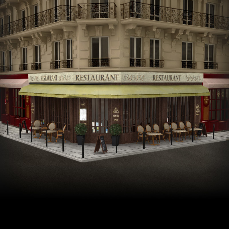 3d model france restaurant facade