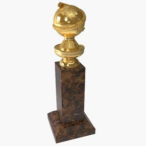 golden globe trophy 3d 3ds