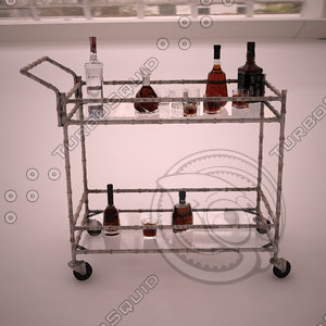 jill bar cart 3d model