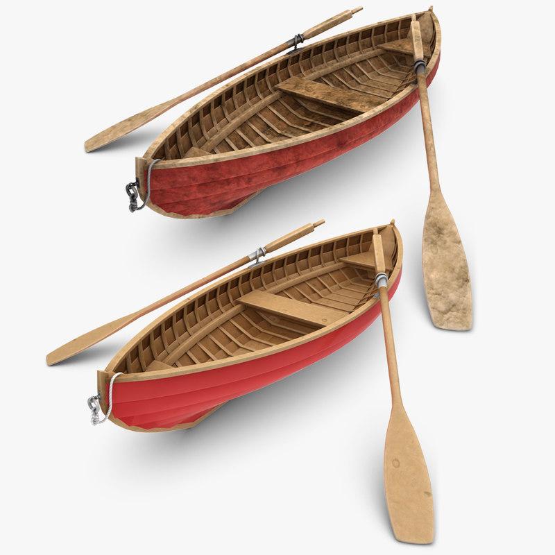 obj realistic rowboat set
