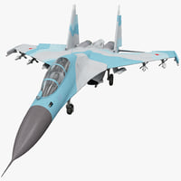 Russian Fighter Aircraft Sukhoi Su-30 1 Rigged