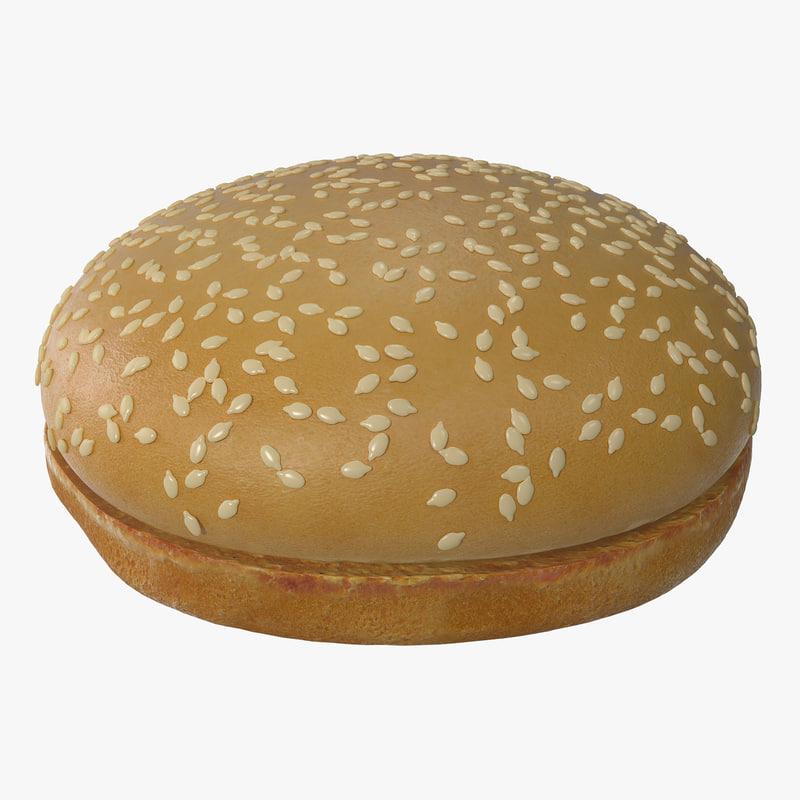 3d model of sesame seed hamburger bun