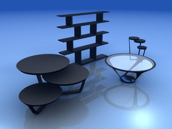 3d model set tables shelf