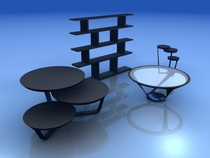 3d model set tables shelf