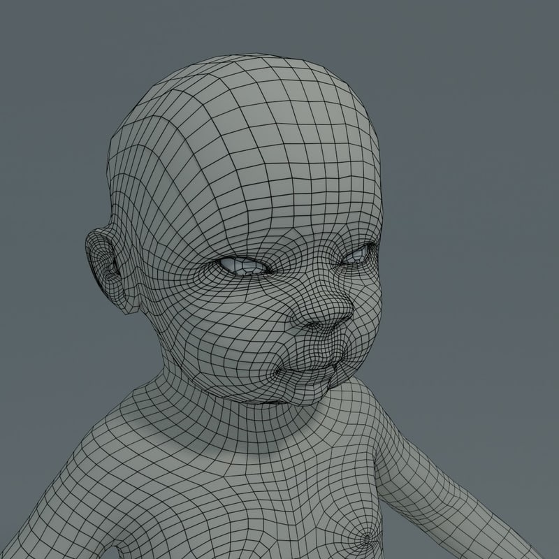 baby asian basemesh 3d obj