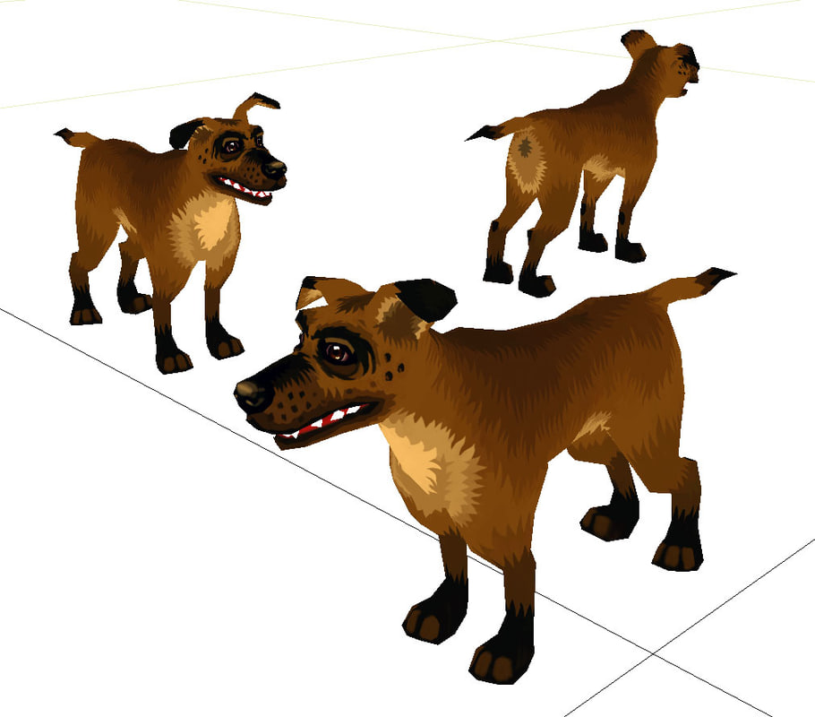 low-poly cartoon style dog max