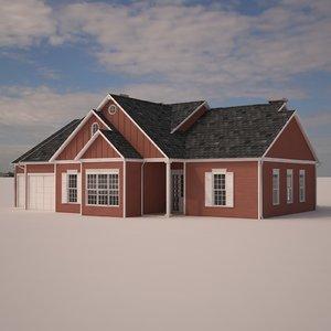 suburban single family house materials 3d max