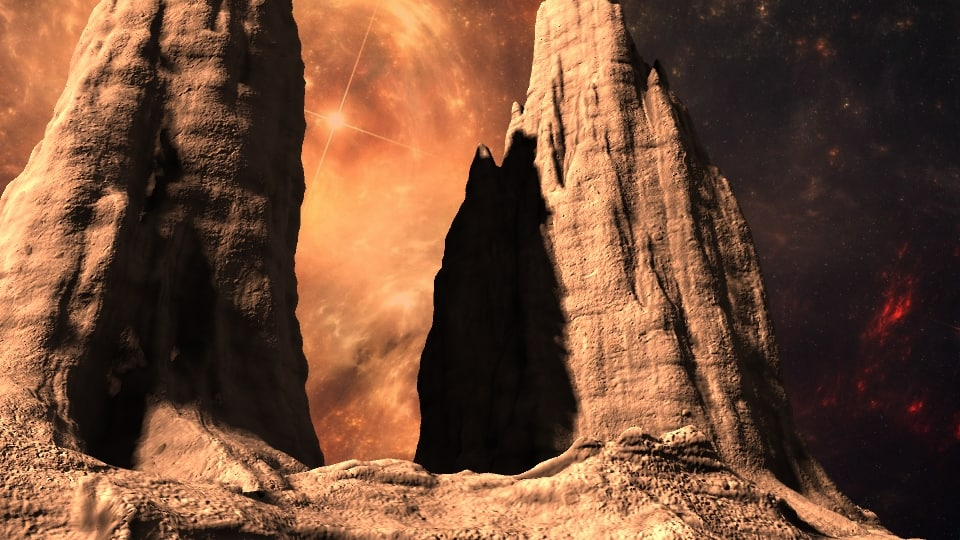 3d alien mountains