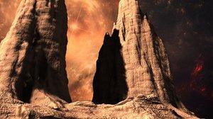 3d alien mountains