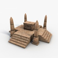 Low poly egyptian box with obelisks
