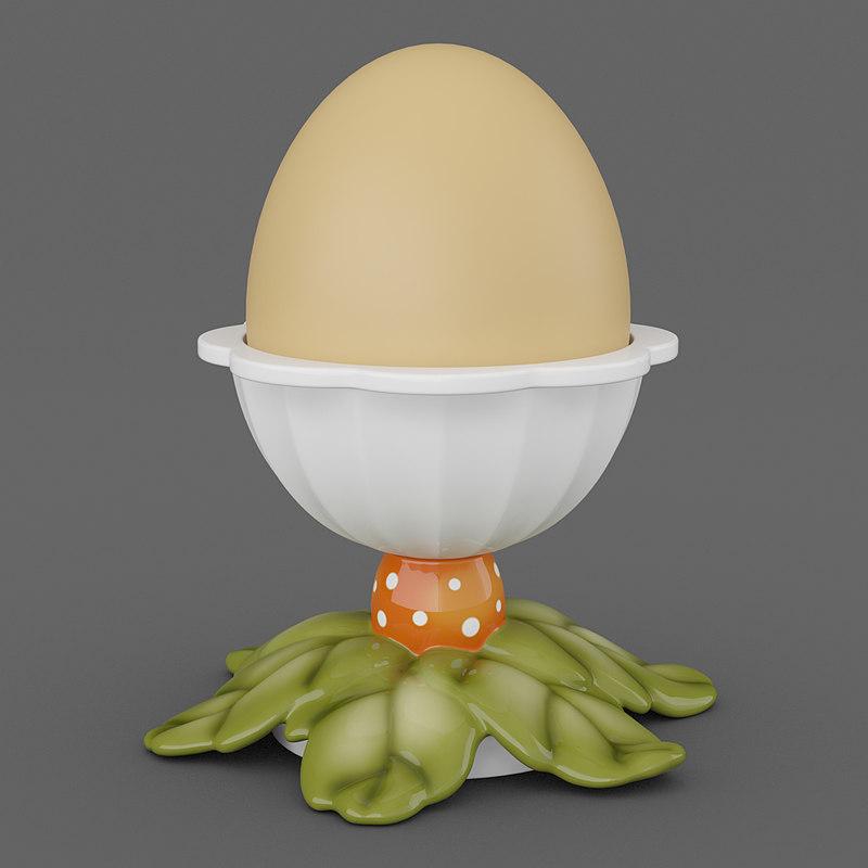 3d model egg cup leaves