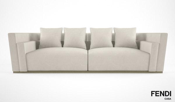 3d model fendi casa borromini sofa