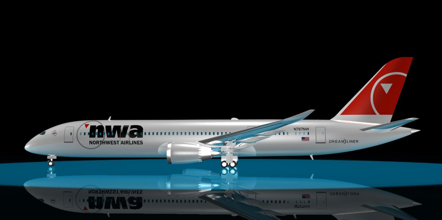 northwest airlines 787-8 dreamliner 3d model