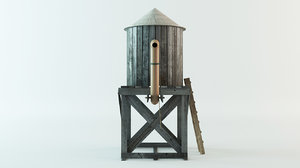 3d model old tower water