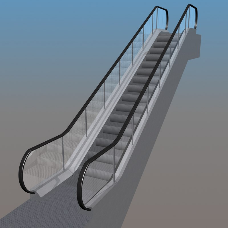 escalator animation 3d model