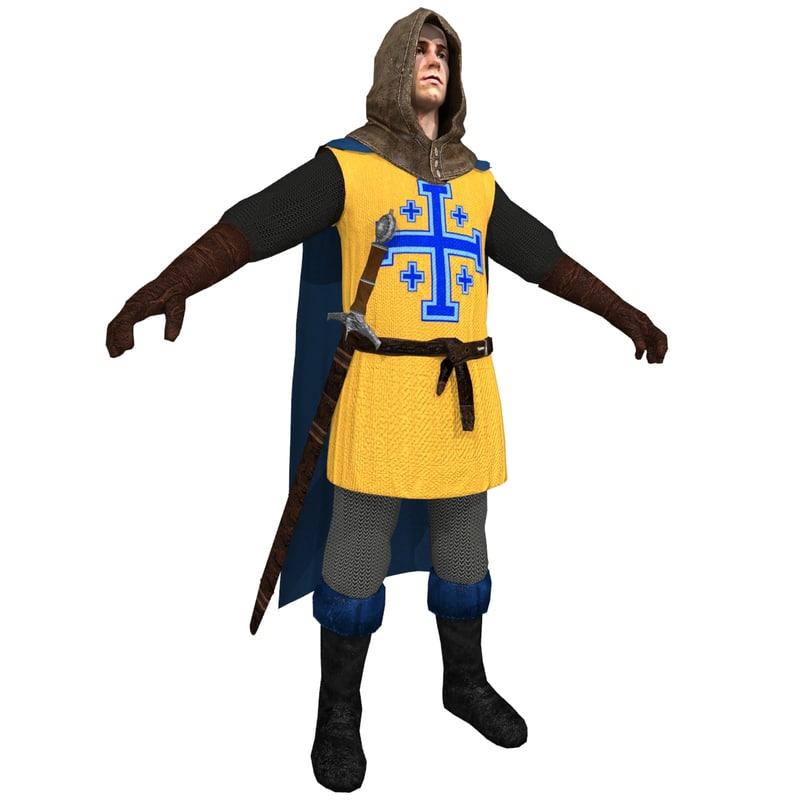 3d model of medieval crusader