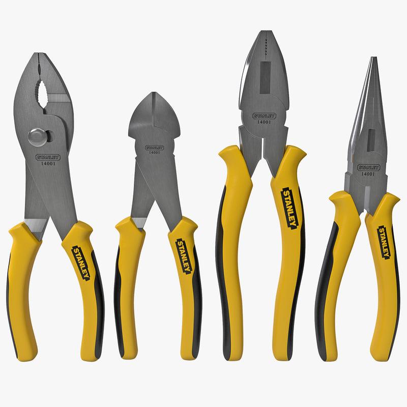 4-piece pliers set stanley 3d model