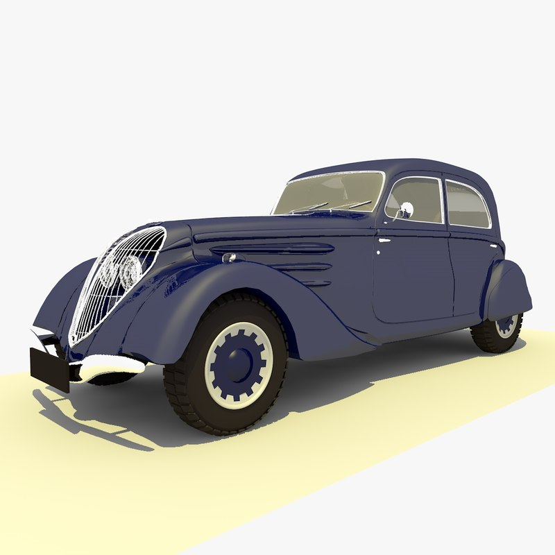 classic 1939 peugeot blue 3d model