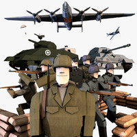 LowPoly WWII Characters and Equipment Pack (Rigged for C4D)